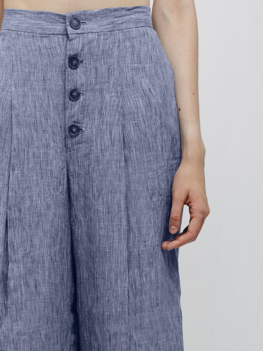 Pleated Pants with Front Buttons Stripes