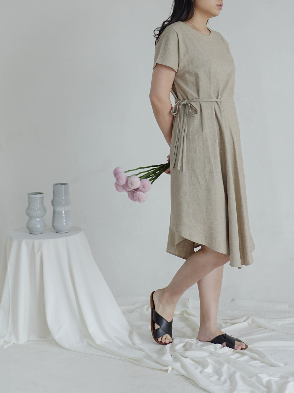 A-Line Dress with String Belt