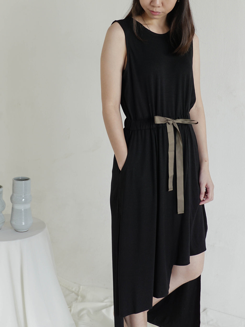 Sleeveless High Low Jersey Dress