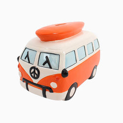 Large Orange Campervan Money Box