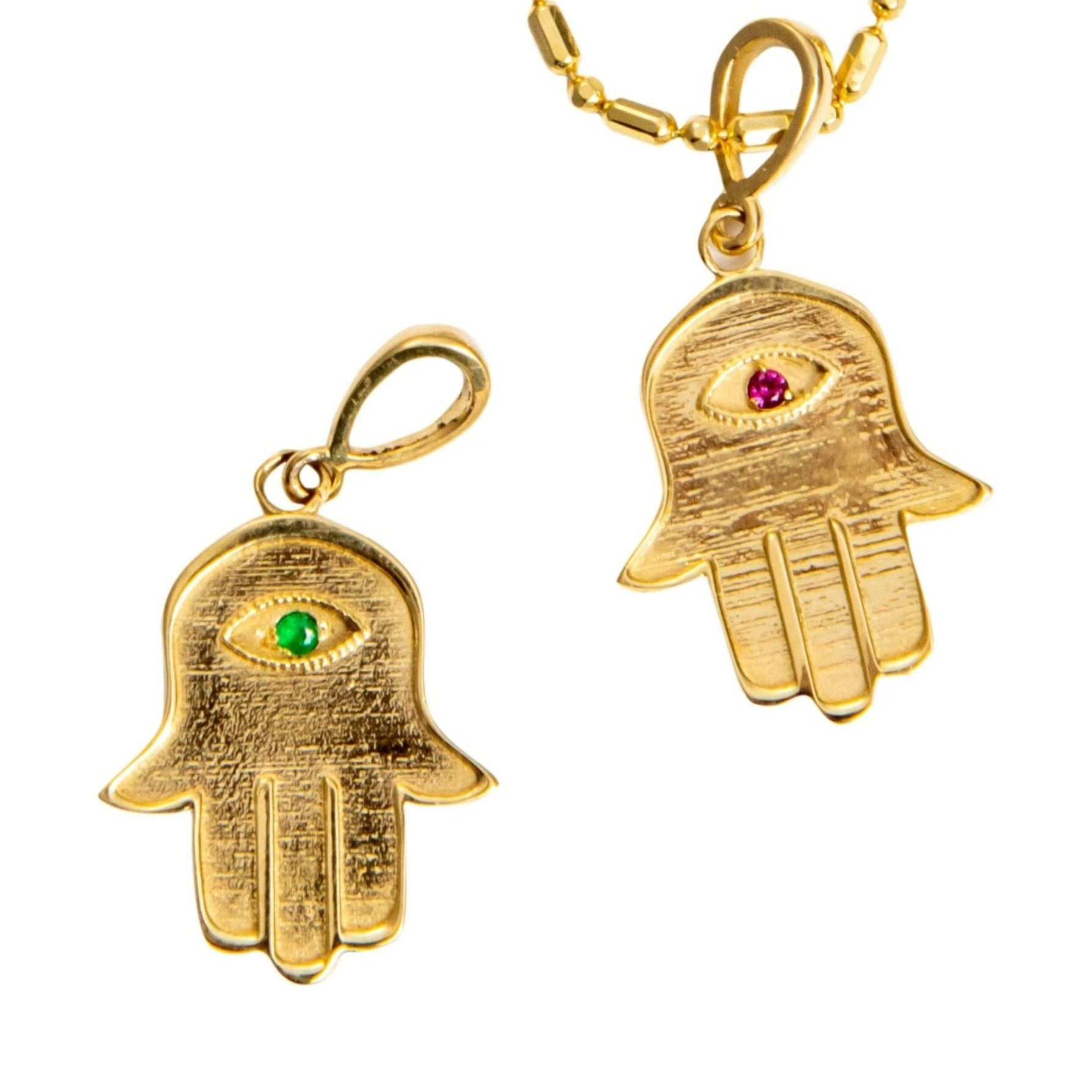 14k Yellow Gold Hamsa Necklace with Natural Stone - Iris 1956