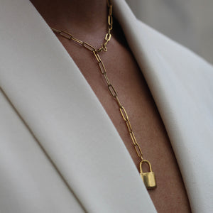 """In Awe"" Lock Paper Clip Link Chain Necklace - Iris 1956"