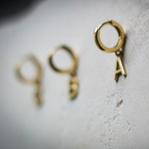 The Journey- Modern Initial Hoop Earring in 14k Gold - IRIS 1956