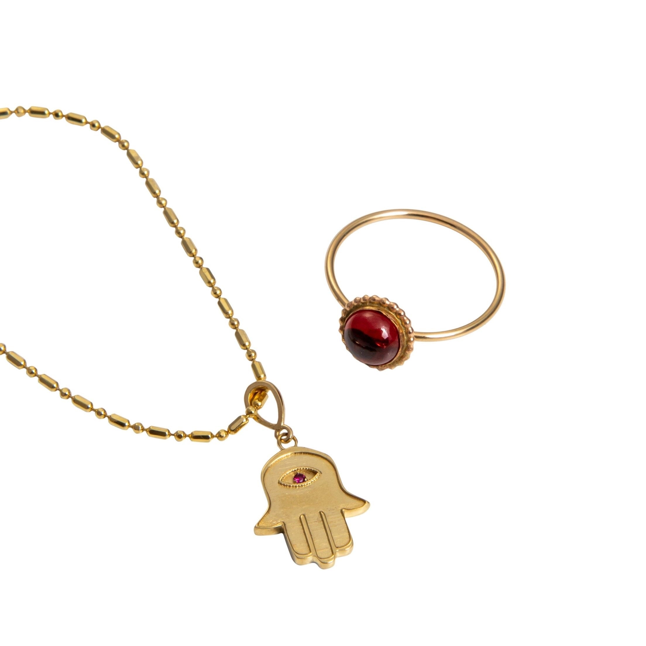 14k Yellow Gold Hamsa Pendant Only with Natural Stone - Iris 1956