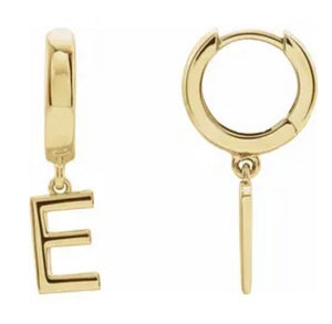 """The Journey"" 14k Gold Initial Hoop Earring - Iris 1956"