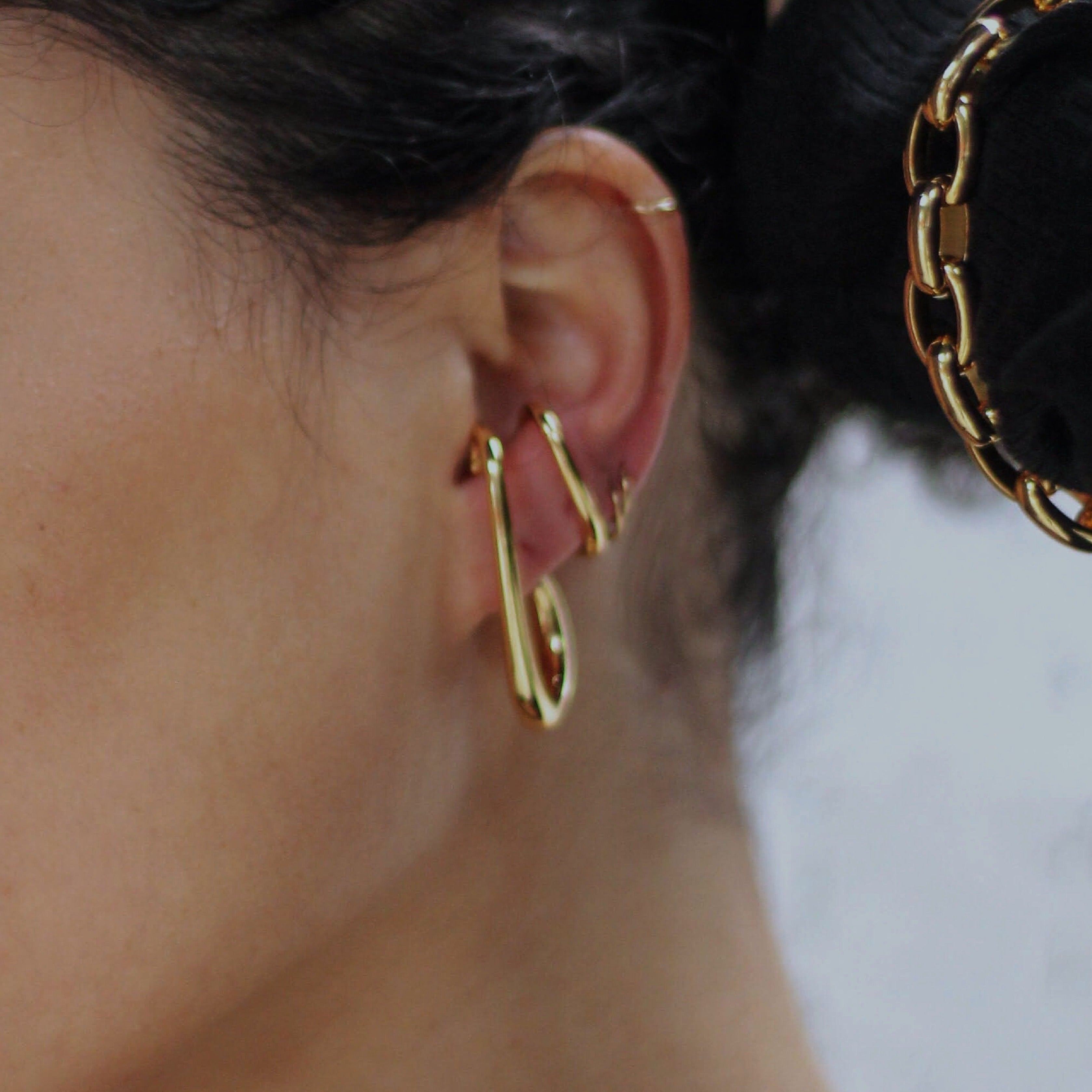 """Be Fancy"" Modern Double Ear Cuffs in Gold - Iris 1956"