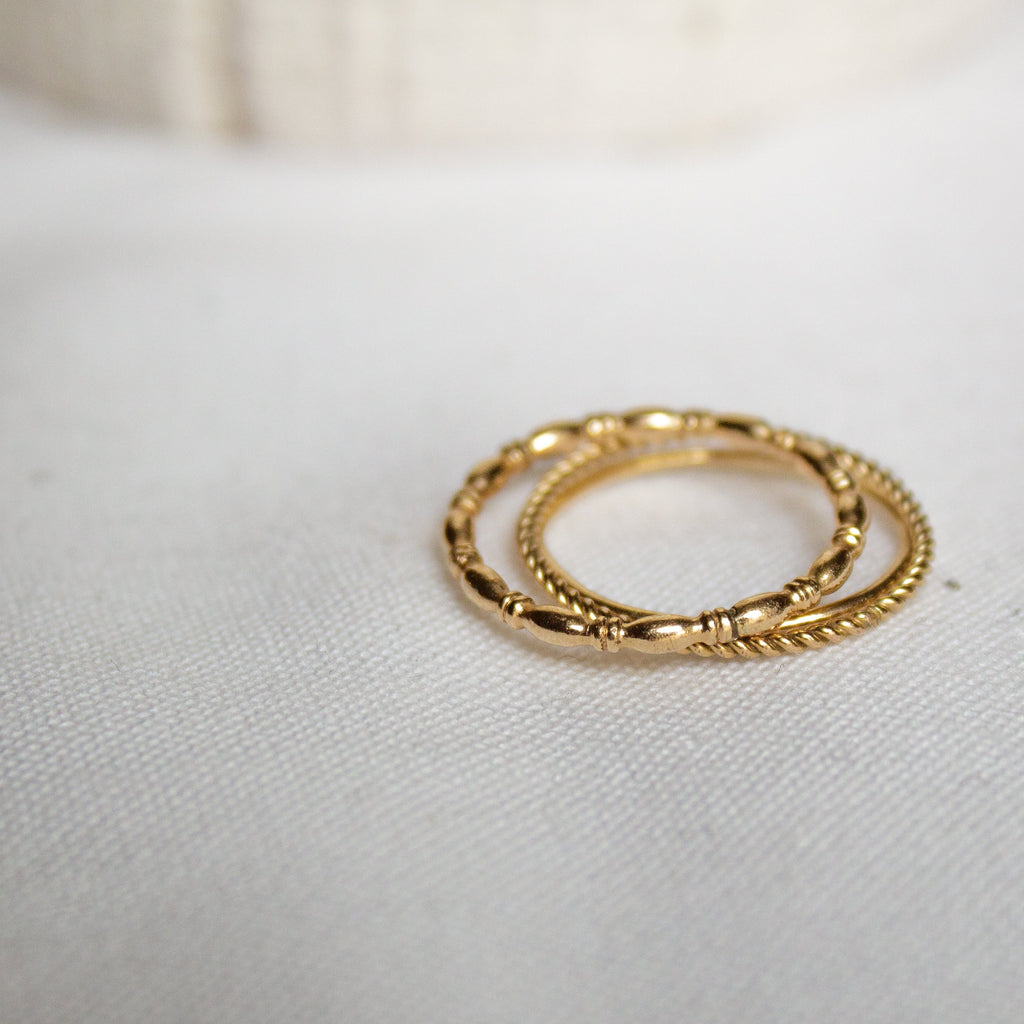 Gold Minimalist Stacking Ring Set - IRIS 1956