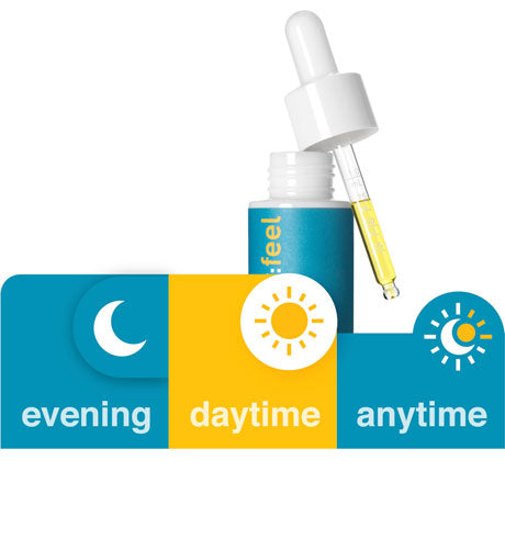 Wonderfeel CBD choices displayed as icons of sun, moon, and combination of both representing day, night or anytime