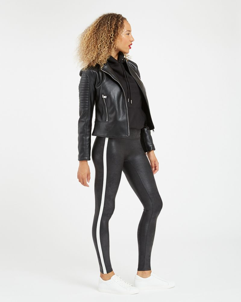 Spanx | Faux Leather Side Stripe Leggings