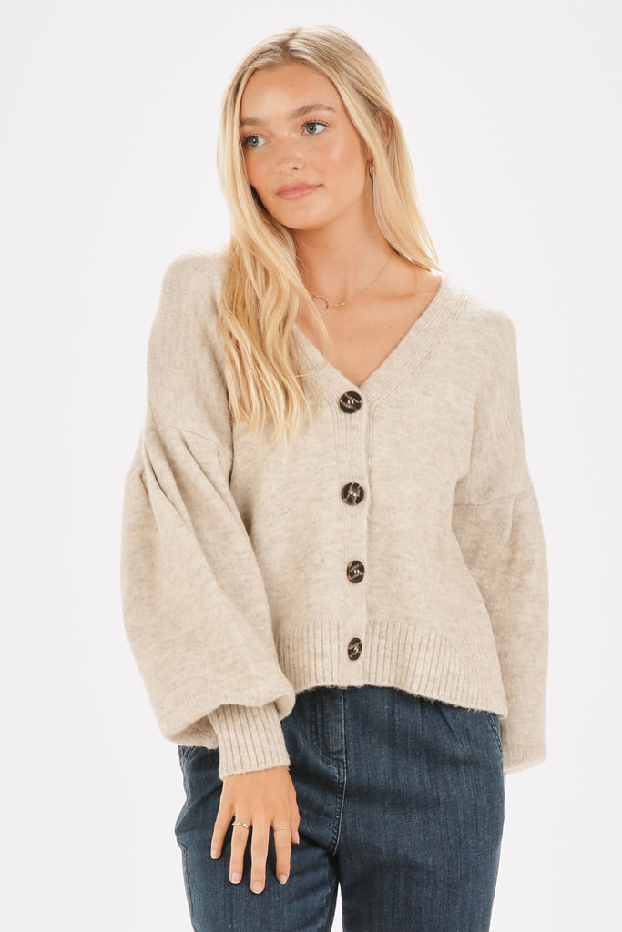 Button Front Balloon Sleeve Knit Cardigan