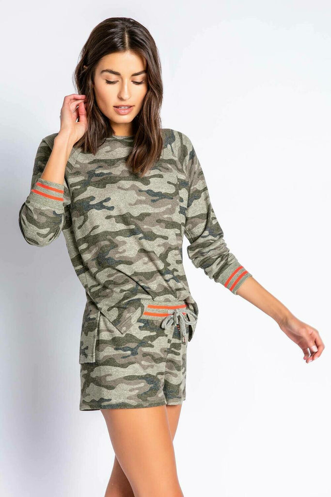 PJ Salvage | Olive Command Camo Pajama Lounge Short