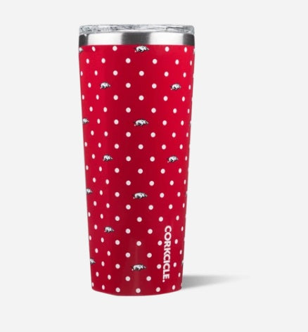 Corkcicle University of Arkansas Polka Dot Tumbler, 24 oz