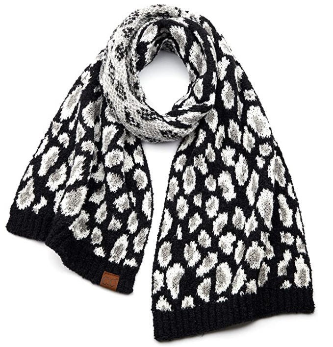 C.C Exclusives Leopard Pattern Knit Scarf