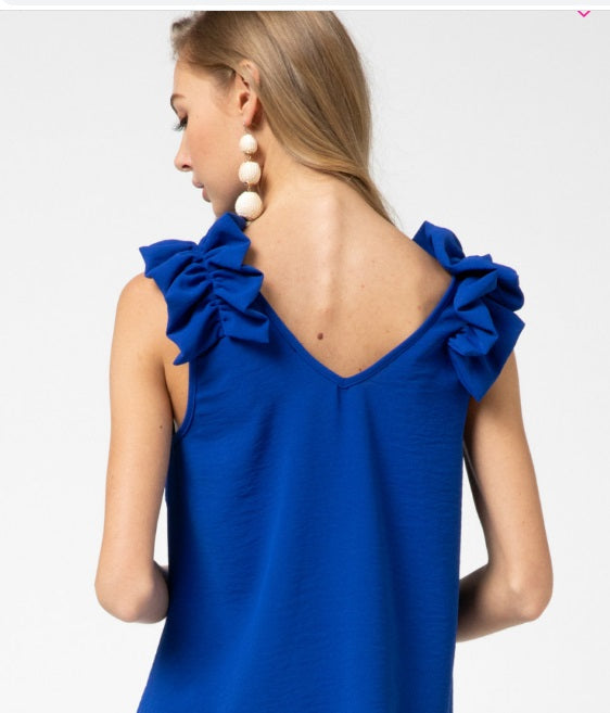 Sleeveless Ruffle Detail Top, Royal Blue