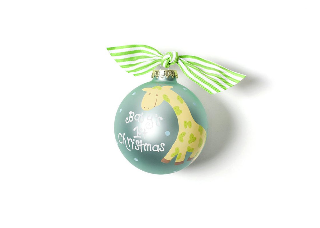 Baby's First Christmas Blue Giraffe Glass Ornament