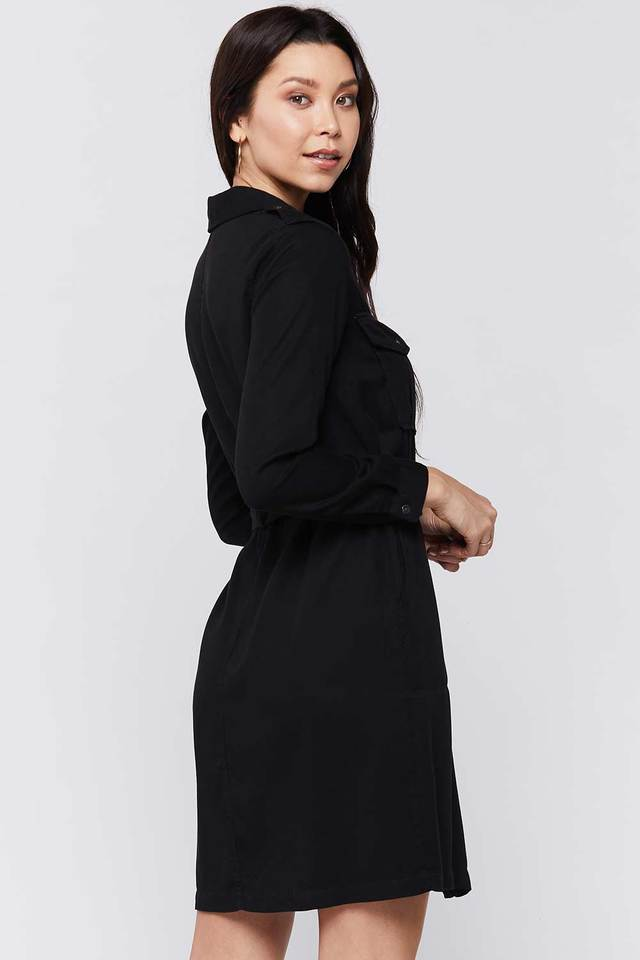 CLEARANCE | Velvet Heart Black Button-Up Utility Dress