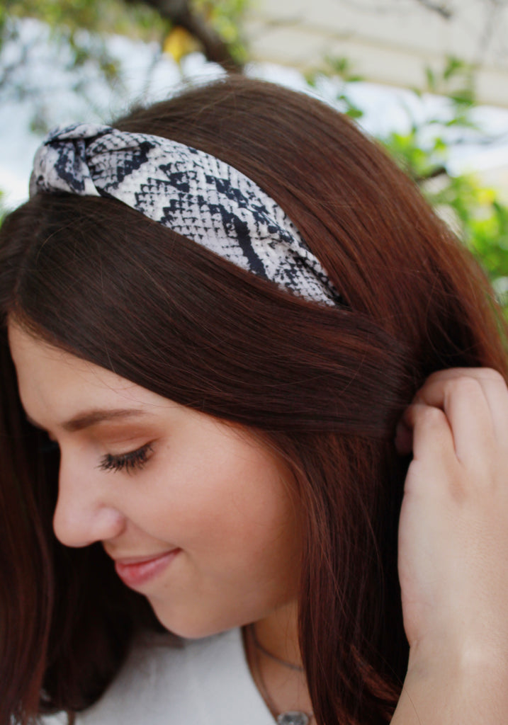 CLEARANCE | Snake Print Top Knot Headband