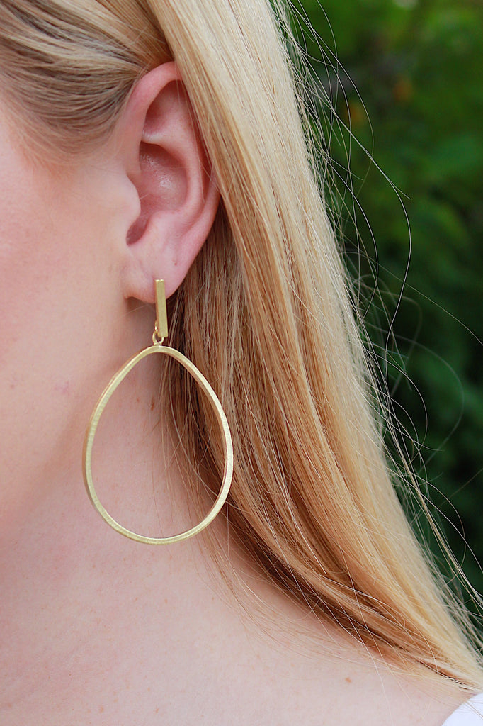 Sheila Fajl Twisted Oval Hoop Earrings, Brushed 18K Gold Plated