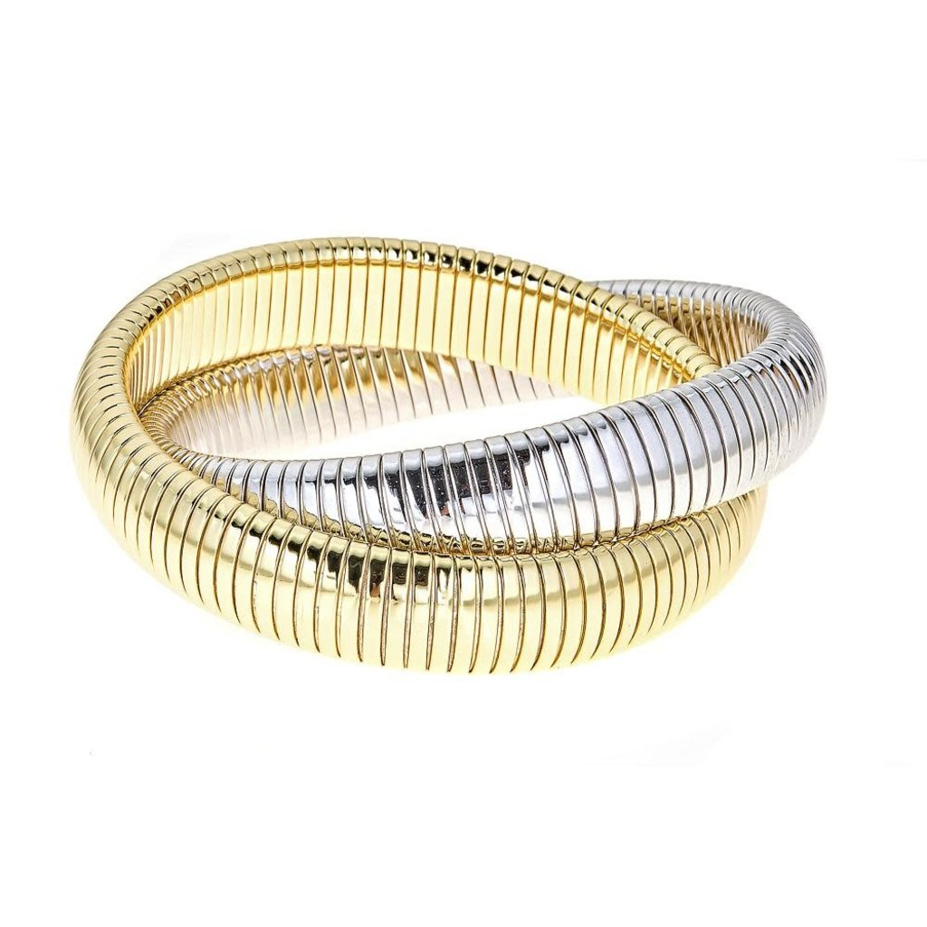Brass Ring Rolling Bracelet-Yellow/White