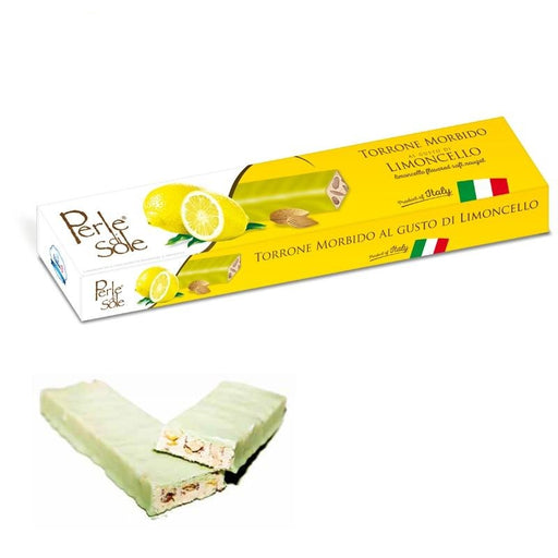 Perle Di Sole Limoncello Flavored Soft Nougat Covered with Lemon Chocolate, 5.3 oz