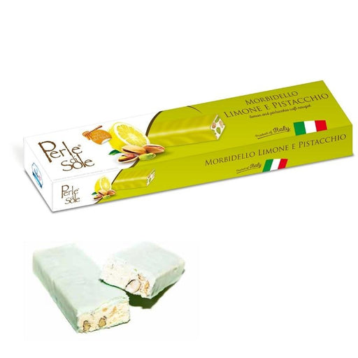 Perle Di Sole Soft Nougat With Pistachio and Almonds with Lemon Flavored Coating, 5.3 oz