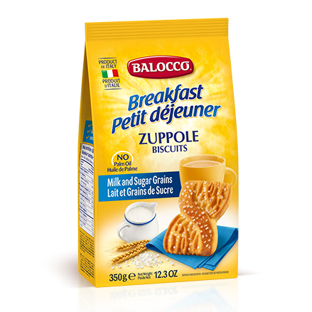 Balocco Zuppole Biscuits, Milk & Sugar Grains Cookies, 12.3 oz | 350g