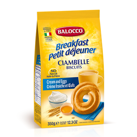 Balocco Ciambelle Biscuits, Cream & Egg Cookies, 12.3 oz | 350g