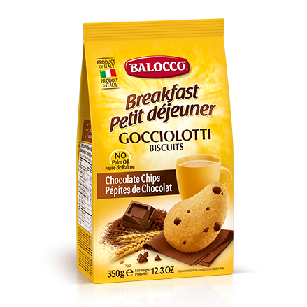 Balocco Gocciolotti Biscuits, Chocolate Chip Cookies, 12.3 oz | 350g
