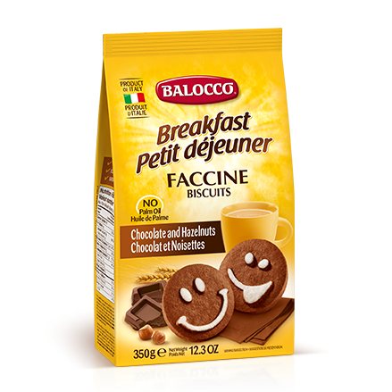 Balocco Faccine Biscuits, Chocolate & Hazelnut Cookies, 12.3 oz | 350g