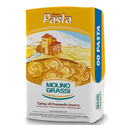 Molino Grassi Soft Wheat Flour For Fresh Pasta Grano Tenero, 00 Flour, 1kg - 2.2 lb