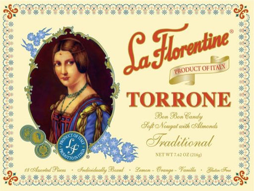 La Florentine Traditional Italian Torrone, Soft Nougat with Almonds 7.62 oz, 18 pieces