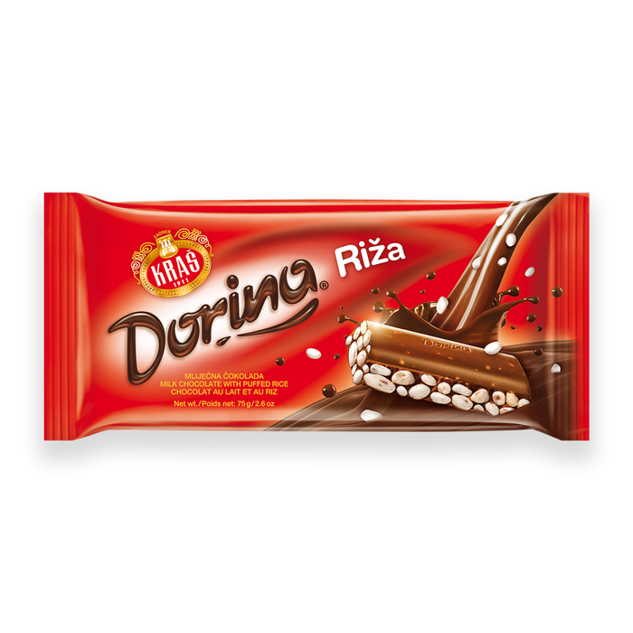 Kras Dorina Milk Chocolate with Puffed Rice Bar, 75g