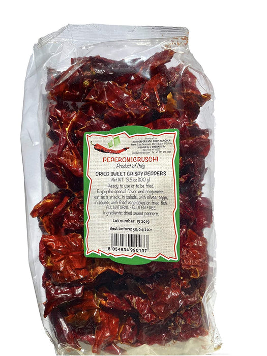 Peperoni Cruschi Italian Dried Sweet Crispy Peppers, 3.5 oz | 100g