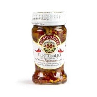 Agostino Recca Fillet of Anchovies with Hot Pepper, 3.18 OZ Jar