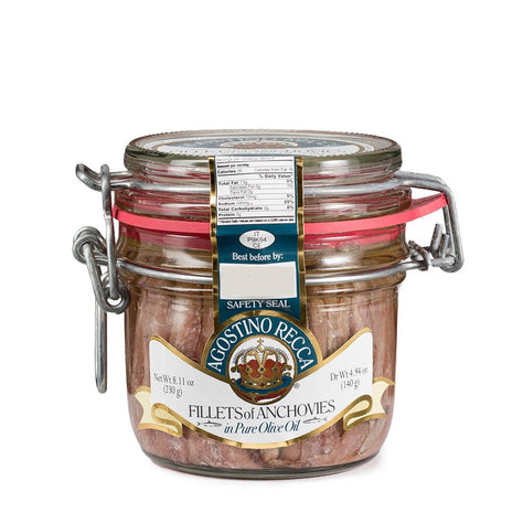 Agostino Recca Fillet of Anchovies 8.11 OZ Jar