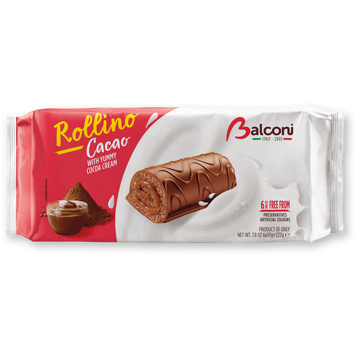 Balconi Rollino Cacao, with Cocoa Cream, 7.8 oz | 222 g