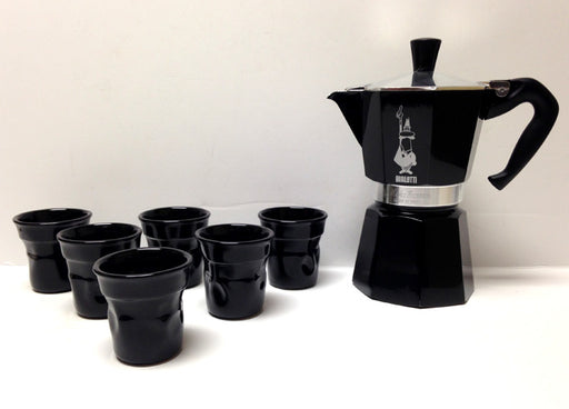 Bialetti Moka Express Stovetop and 6 Cups, Gift Set - Black
