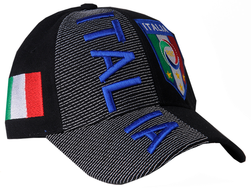 Black Italia 3D Embroidery Hat