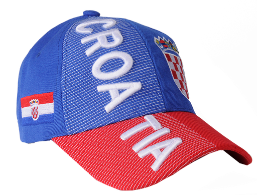 Blue Croatia 3D Embroidery Hat