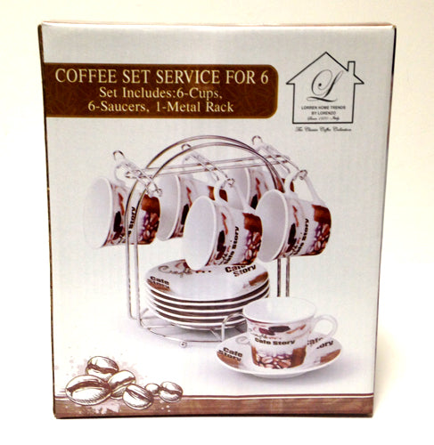 Cafe Story Espresso Cups and Saucers - Set of 6