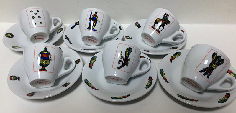Italian Playing Cards Espresso Cups and Saucers set of 6
