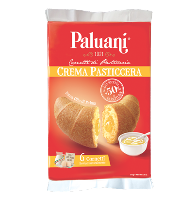 Paluani Croissant With Custard Cream Filling, Crema Pasticcera, 252g
