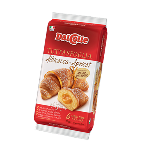 Dal Colle Apricot Croissants, 6 Pack, 9.52 oz | 270g