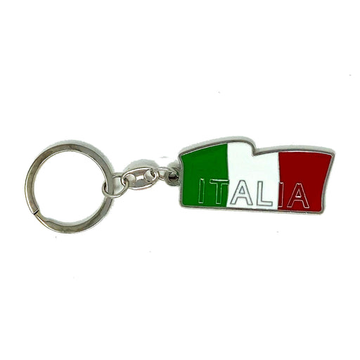 Italia Long Flag With Italia Word Metal Keychain, 2""