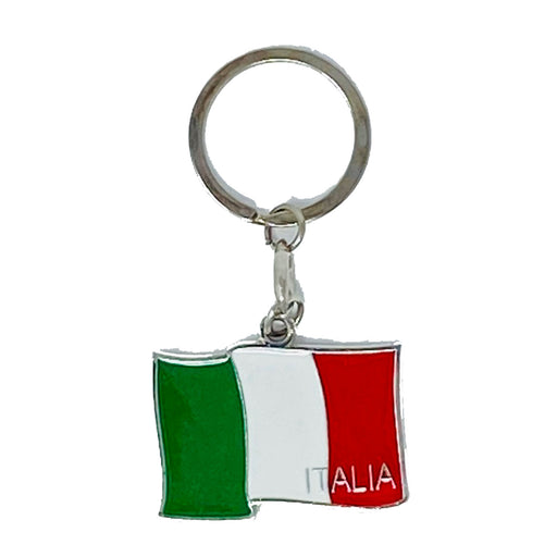 "Italian Flag Metal Key-chain, 2"" x 1 1/2"""