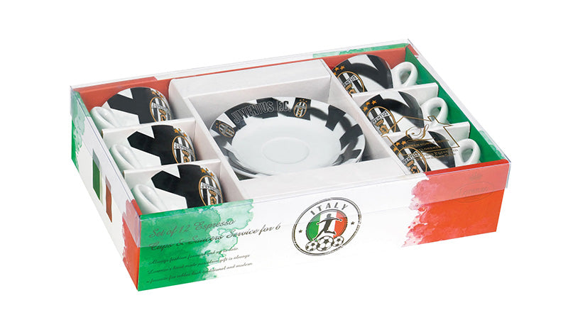 Juventus F.C. Espresso Cups and Saucers set of 6