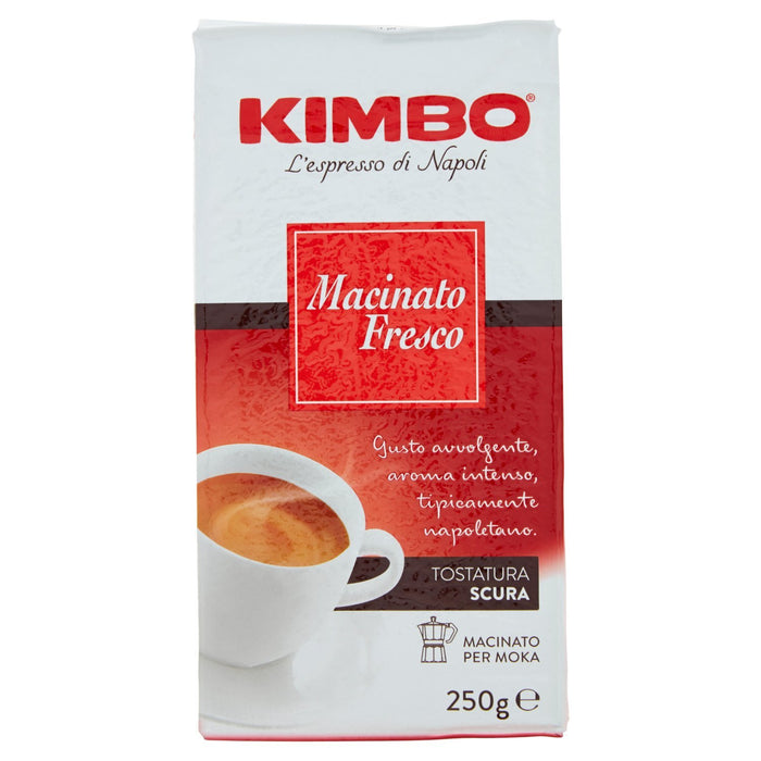 Kimbo Macinato Fresco Ground Coffee, Dark Roast, Tostatura Scura