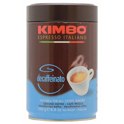 Kimbo Decaffeinated Ground Coffee, Decaffeinato, 2.8oz | 250g Tin