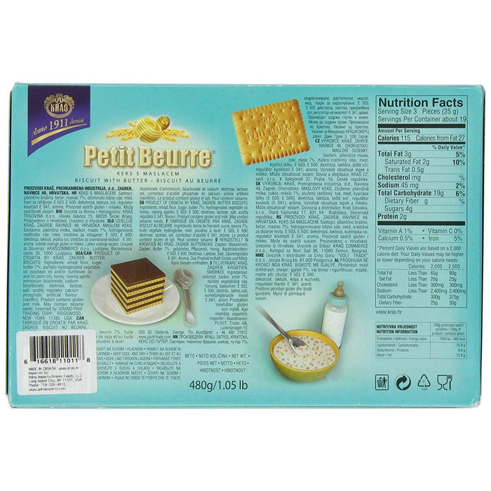 Kras Biscuits, Petit Beurre, Biscuit With Butter, 1.05 lb | 480 g