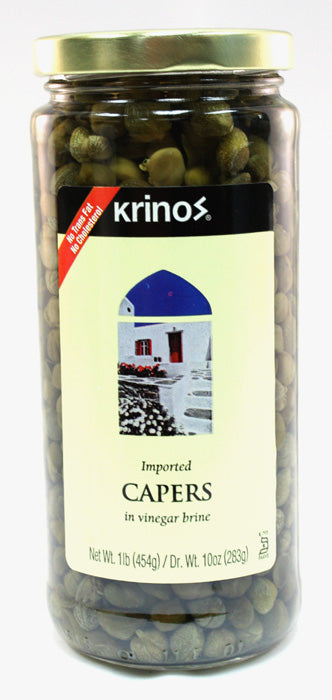 Krinos Imported Capers in Vinegar Brine 1 LB Jar